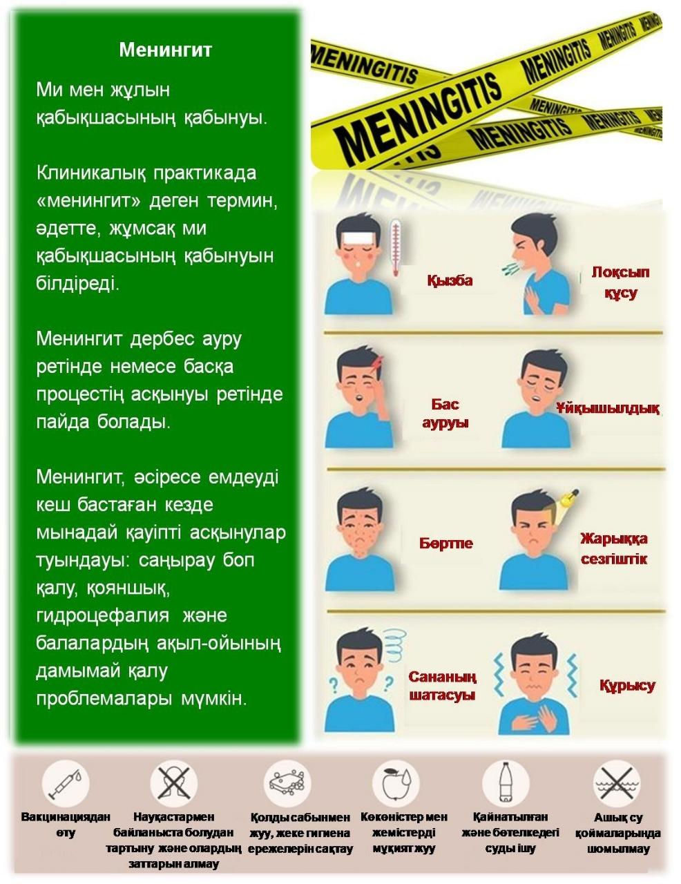 Менингитттердің алдын алу бойыншасанитариялық-ағарту жұмыстарын жүргізу  туралы